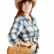 Woman with basket over white — Stock Photo #6854674