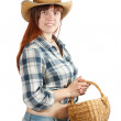 Stock Photo: Pastoral womwith basket