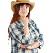 Happy pastoral woman in checkered shirt — Stock Photo
