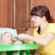 Mother feeding her 6 month daughter — Stock Photo