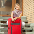 Happy woman with baggage — Stock Photo #6854887