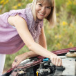 Stock Photo: Woman trying to fix the car