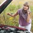 Woman trying to fix the car — Stock Photo #6854902