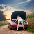 Sexy girl looking under the car hood — Stock Photo