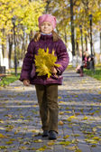 Girl walking in autumn park — Stock Photo