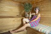 Girl is steamed in sauna — ストック写真