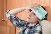 Woman having headache — Stock Photo