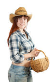Pastoral woman with basket — Stock Photo