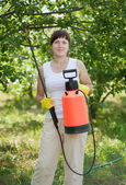 Working woman with garden spray — Stock Photo