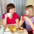 Girls drinking tea and gossiping — Stock Photo #6874780