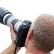 Photographer man with camera — Stock Photo