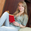 Girl reading book on sofa - Stock Photo