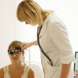 Oculist and patient — Stock Photo