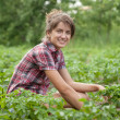 Girl working in field — Stock Photo #6875056