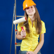 Foto Stock: Female house painter