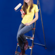 Girl with paint rollers - Foto de Stock