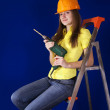 Female worker with drill - Foto de Stock