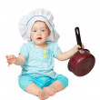 Stock Photo: Baby cook in toque
