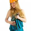 Stock Photo: Beauty girl with drill