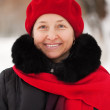 Winter portrait of mature woman — Stock Photo