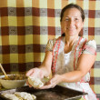 Woman making meat pasty — Stock Photo #6875693