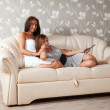 Women laying on sofa — Stock Photo #6875705