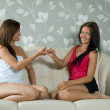 Women having reconciliation in home — Stock Photo