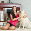 Stock Photo: Woman with Labrador retriever