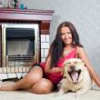 Woman with Labrador retriever — Stock Photo