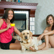 Foto Stock: Women with labrador in home