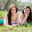 Happy women relaxing in park — Stock Photo