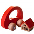 Wooden  toy house and car — Stock Photo