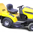 Stock Photo: Yellow lawn mower over white