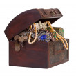 Treasure chest  over white — Stock Photo