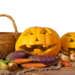 Halloween pumpkin and vegetables — Stock Photo #6879194