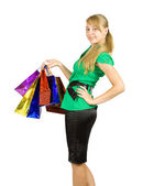 Girl with shopping bags — Stok fotoğraf