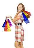 Menina com sacos de compras — Fotografia Stock