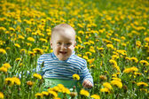 Happy baby in flowers meadow — Stock Photo