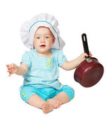 Baby cook in toque — Stock Photo