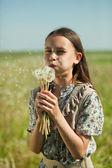 Girl blowing dandelion — Stock Photo