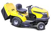 Yellow lawn mower over white — Stock Photo