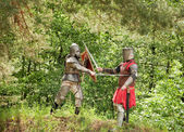 Knights in armor is fighting — Stock Photo