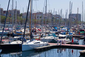 Yachts lying at Port Vell. Barcelona — Stock Photo