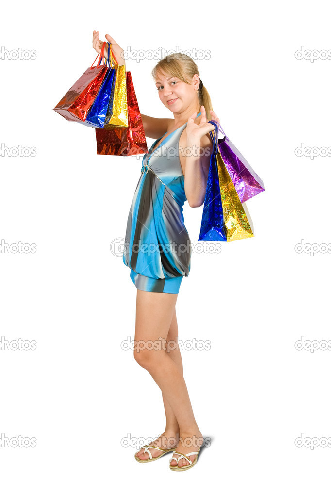 Lovely girl with shopping bags over white  Stock Photo #6874812