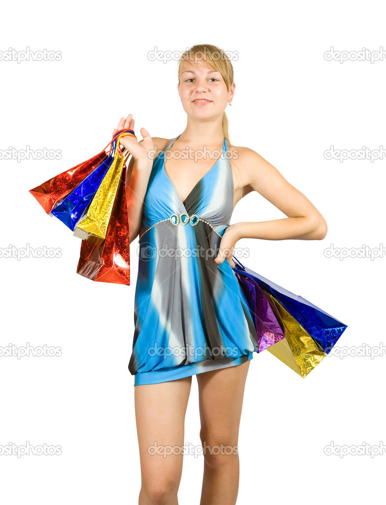 Beautiful girl with shopping bags. Isolated with clipping path — Stock Photo #6874814