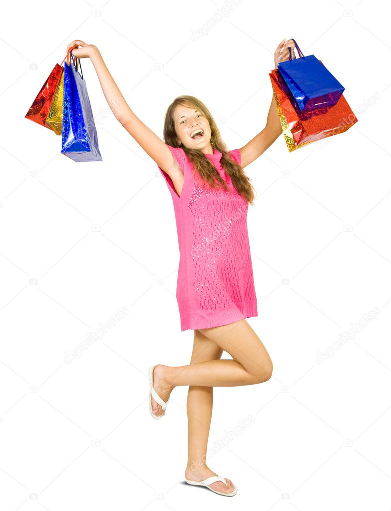 Girl holding shopping bags. Isolated in full length on white background. — Stock Photo #6875065