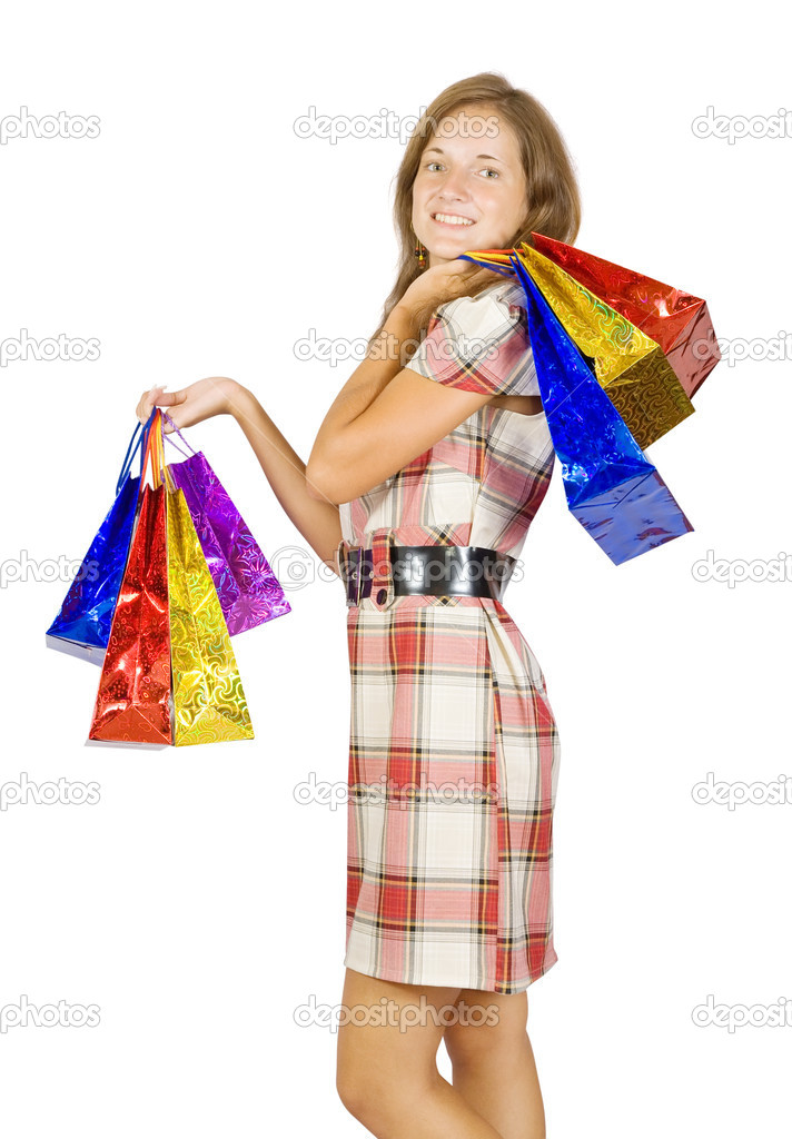 Beautiful girl with shopping bags. Isolated with clipping path — Stock Photo #6875068