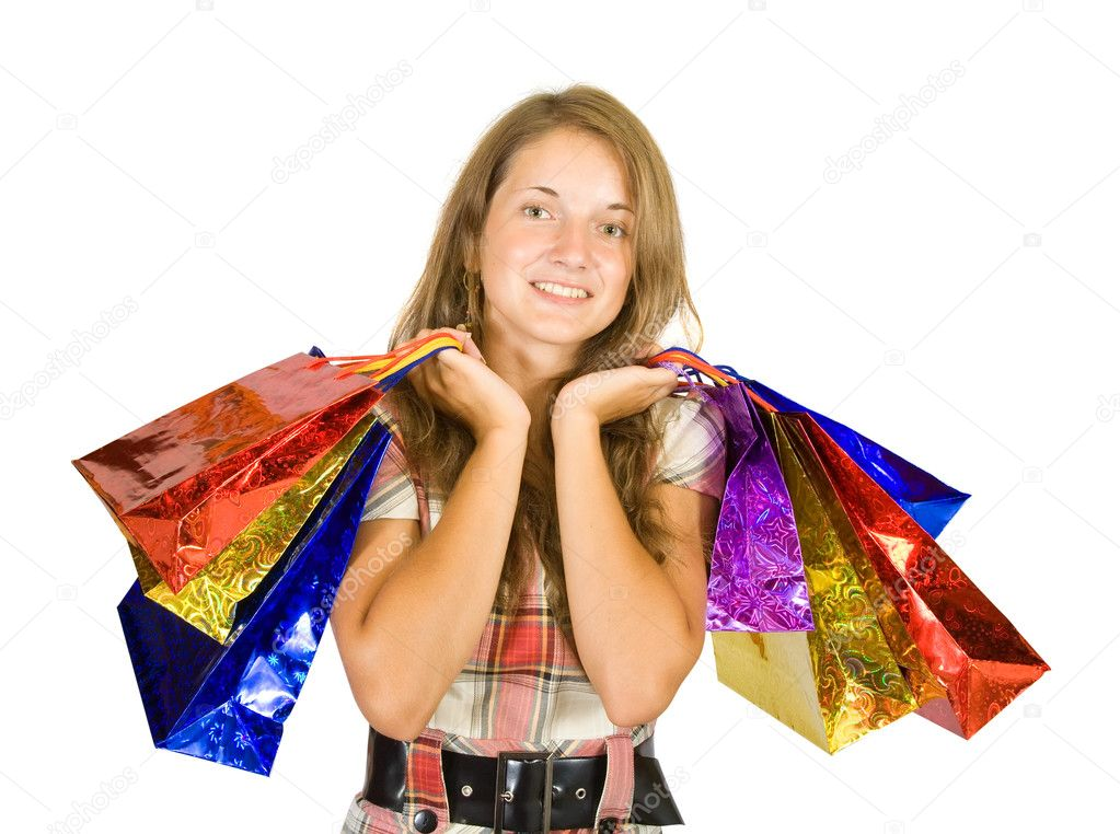 Beautiful girl with shopping bags. Isolated with clipping path — Stock Photo #6875069