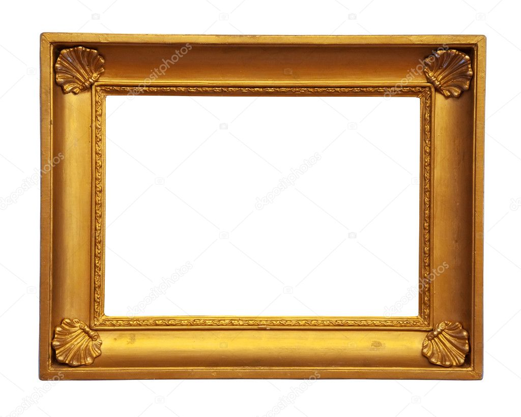Old antique gold frame. Isolated over white background with clipping path  Stock Photo #6879003