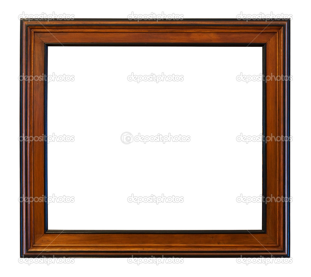 Wooden brown  frame. Isolated over white background with clipping path — Foto Stock #6879006